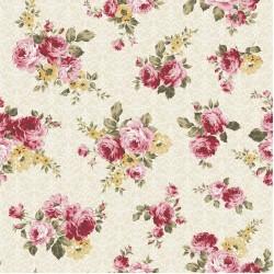 Cream Cotton Fabric - Floral