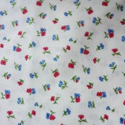 Patchwork Fabric White with Red and Blue Flowers
