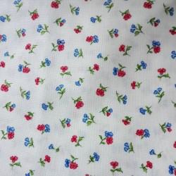 Tejido Patchwork con Flores Rojos y Azul