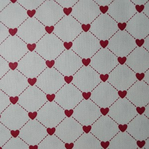 Cotton Fabric  Cream with Red Hearts