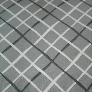 Grey Cotton Fabric  with White and Black Transverse Lines