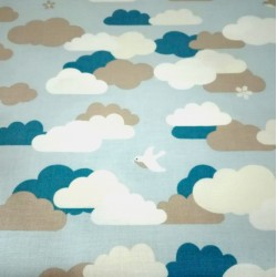 Light Blue Cotton Fabric  with Clouds and Little Birds