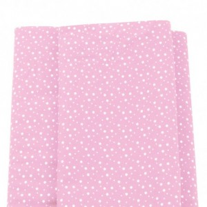 Patchwork Fabric  - Pink with White Stars