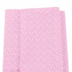 Tessuto Patchwork - Rosa con Stelline Bianche