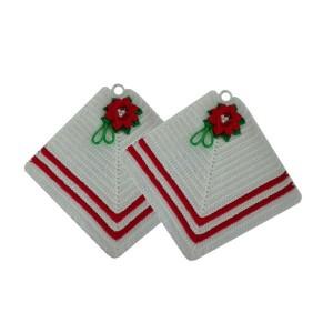 Coppia Presine Quadrate con Stella di Natale