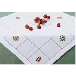 Tablecloth with Embroidered Strawberries