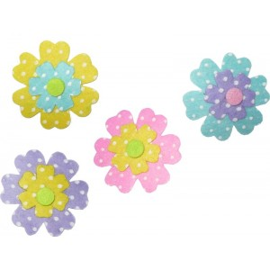 Decoraciones de Fieltro - Flores a Pois